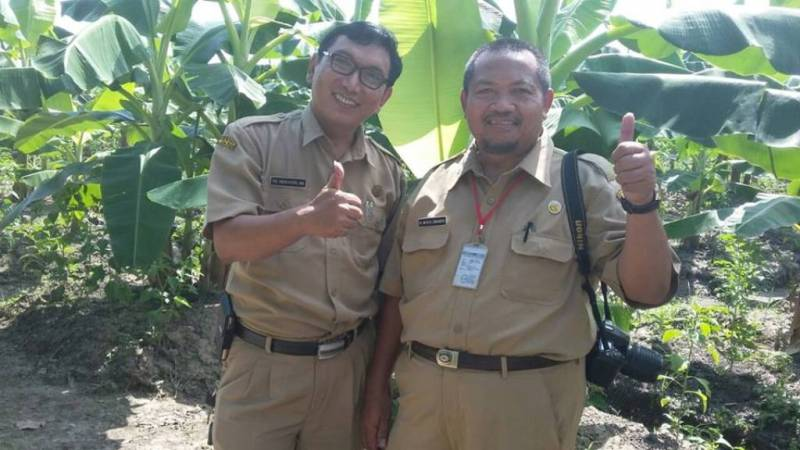Kepala Desa Sekarsuli Siswanto ketika memberi apresiasi pada Haji Moch Isnaeni yang telah budidaya tanaman pisang. (p.kus)